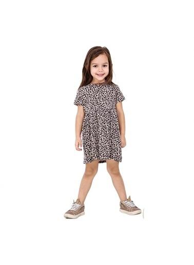 Quzucuk Kids Kız Çocuk Leopar Desenli Elbise Kahve